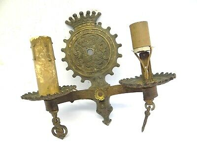 Antique Victorian Brass Metal Old Ratner Pat 2-1-30 Sconce Dual Wall Light