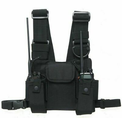 Chest Front Pack Pouch Holster Vest Rig Carry Bag Motorola Baofeng Walkie Talkie