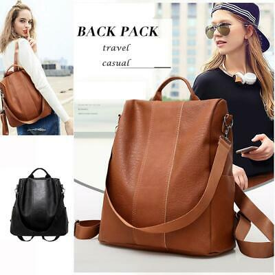 Women's Leather Anti-Theft Rucksack Backpack School Shoulder Bag Black/Brown New