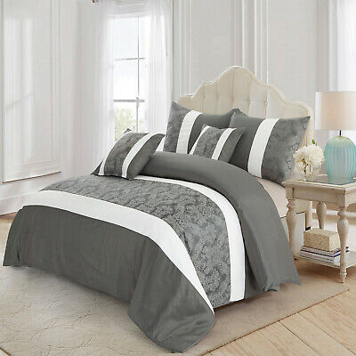 3 Piece Faux Silk Quilted Bedspread Grey & White King Size Bed Throw Pillowcase
