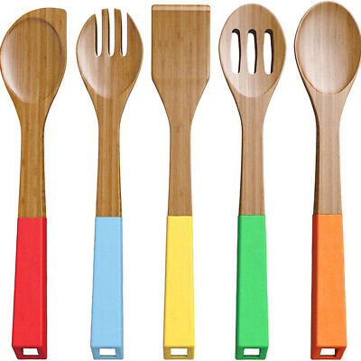 5pcs Bamboo Nonstick Cooking Utensils Wooden Spoons and Spatula Utensil Set