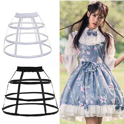 3 Hoop Full Dress Crinoline Cage Bustle Lady Wedding Gown Pannier Petticoat