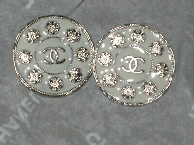 Chanel 2 Metal Cc Logo Front Camellia Flower Off White Buttons  18 Mm Lot 2