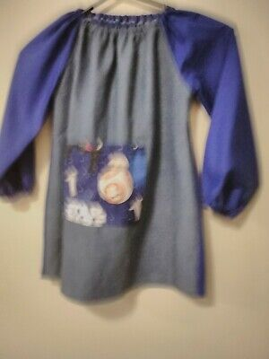 Handmade Kids denim  Art Smock with Star Wars pocket Boys 4-7