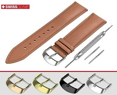 Fits EMPORIO ARMANI Flat Light Brown Genuine Leather Watch Strap Band For Buckle