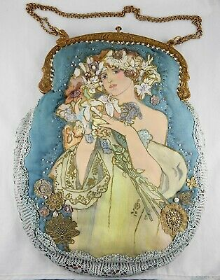 Perl-Beutel Abend Tasche/Jugendstil Made in France
