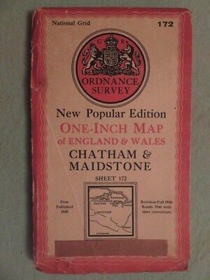 """Antique O/S 1""""/mile map Great Britain CHATHAM & MAIDSTONE (1947) sheet 172"""