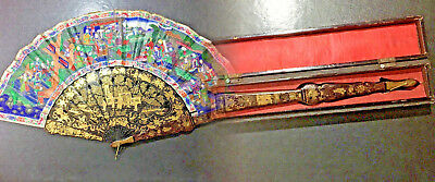 19Th Century China Chinese Canton Hundred Faces Lacquer Fan & Box 古董扇