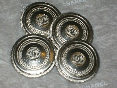 Chanel 4 Clean  Silver   Metal Button Cc Logo 22 Mm / Around 1'' New Lot 4