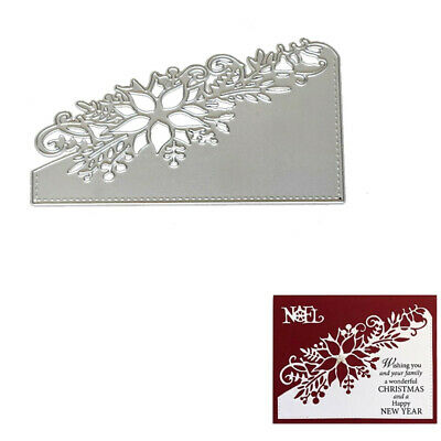 Christmas Craft Metal Cutting Dies Xmas DIY Postcard 3D Stamp Flowers Corner