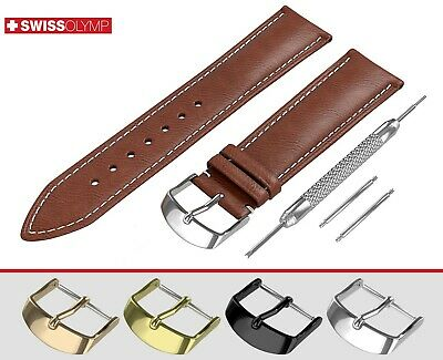 Fits EMPORIO ARMANI Flat Brown Genuine Leather Watch Strap Band For Buckle Clasp