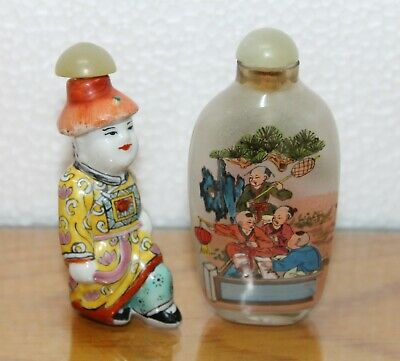 Antique Two Chinese Snuff Bottle Porcelain Figure And Glass Hand Painted