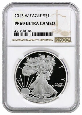 2013 W 1 oz Proof American Silver Eagle $1 NGC PF69 UC SKU27567