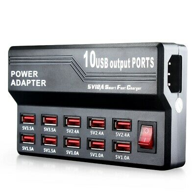 USB Wall Fast Charger Adapter 5V 12A 10 Port Charging Station for Samsung Apple