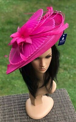 Suzanne Bettley Hot Pink  Disc Hatinator Hat Wedding Formal Occasion  Feathers
