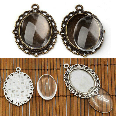 10Set Glass Cabochon Cameo Charms Pendants+Finding Oval Bases Tray Blank Jewelry
