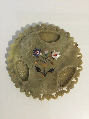 Chinese Soapstone Dish/tray  Mother Of Pearl Inlay.