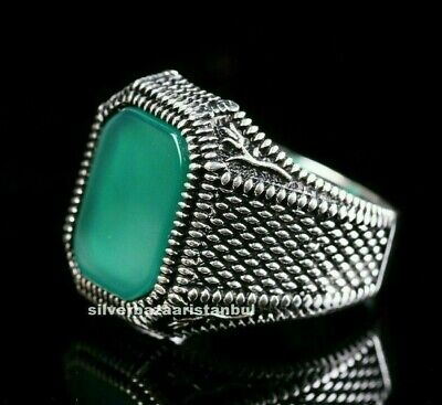 Turkish Jewelry 925 Sterling Silver Green Agate Aqeeq Mens Kind Ring ALL SİZE