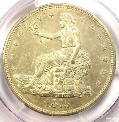 1875-CC Trade Silver Dollar T$1 - PCGS Uncirculated Details Chop Mark (UNC MS)!