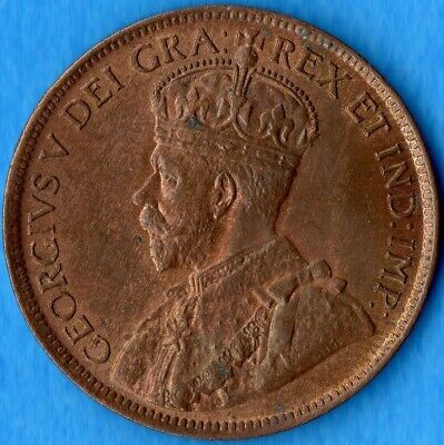Canada 1919 1 Cent One Large Cent Coin - Choice Uncirculated - Red Brown