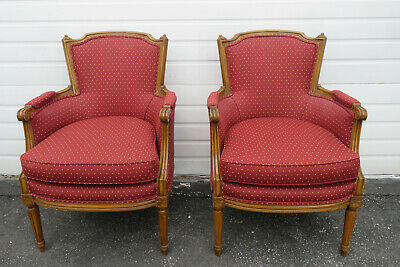 French Pair of Large Living Bed Room Fireplace Den Side Chairs 9830