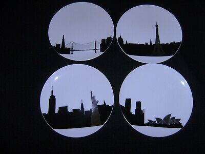 4 CORDON BLEU 8 Inch City Plates in Black and Gold  NEW