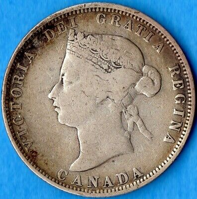 Canada 1881 H 25 Cents Twenty Five Cent Silver Coin - VG-10