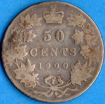 Canada 1900 50 Cents Fifty Cents Silver Coin - Good