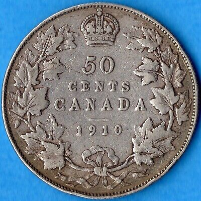 Canada 1910 50 Cents Fifty Cents Silver Coin - Fine