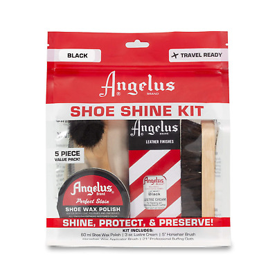 Leather Shoe Shine KIT BLACK polish + Lustre Cream & 2 horsehair brushes Angelus