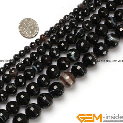 """Natural Faceted Gemstone Black Stripe Agate Round Beads For Jewelry Making 15""""Y"""