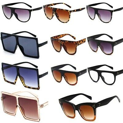 Flat Top Large Square Frame Vintage Big Oversized Sunglasses Mens Womens