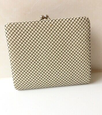 Vintage Beige Gold Tri Fold Glomesh Wallet And Coin Purse - Credit Card Slots