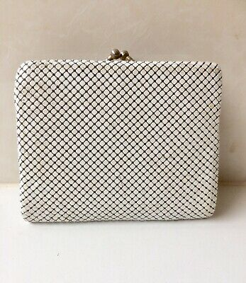 Vintage White Gold Tri Fold Glomesh Wallet And Coin Purse - Credit Card Slots
