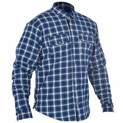 Oxford Kickback Motorcycle Checker Shirt Blue/White 4XL