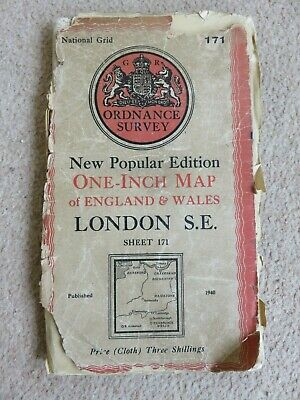 """Antique O/S 1""""/mile map Great Britain LONDON S.E. (1940) sheet 171"""