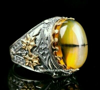 Natural Stone Yemeni Agate Aqeeq Turkish 925 Sterling Silver Solid Mens Ring