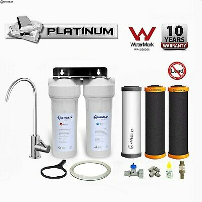 PLATINUM Twin Undersink Water Filter System Remove Fluoride Lead SUS304 Tap