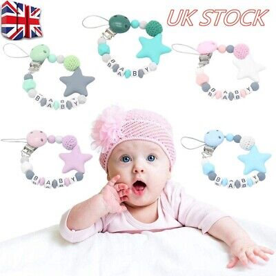 UK Dummy Clips Baby Teeth Chain Holder Kit Pacifier Teething Strap Silicone Bead