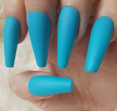 20 Hand Painted False Nails. Press on Nails. Candy Blue Matte - Choose Shape.