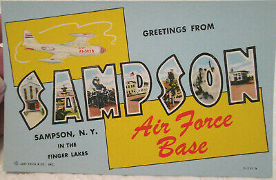 1950s Sampson Air Force Base Finger Lakes NY large letter cutout postcard