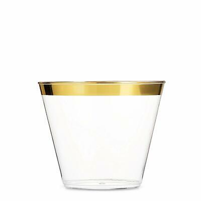 100 Gold Plastic Cups 9 Oz Clear Party Unique Old Fashioned Tumblers Gold Rimmed