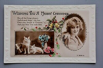 R&L Postcard: Christmas Cats, Bells & Young lady, Embossed Border