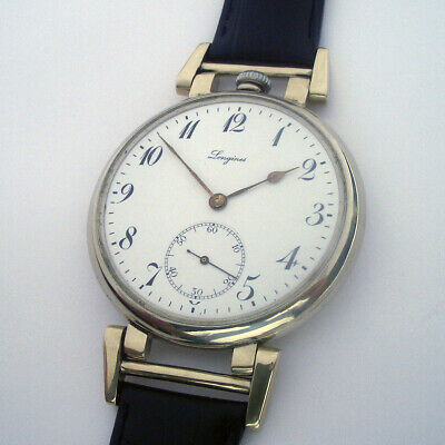 Rare Big ANTIQUE LONGINES Swiss with Enamel Dial
