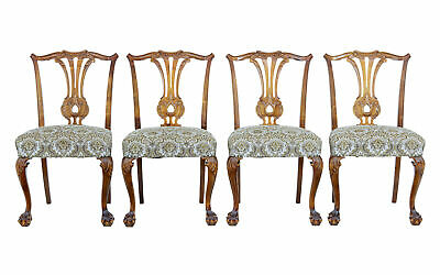 Set Of 4 Mid 20Th Century Chippendale Inspired Dining Chairs
