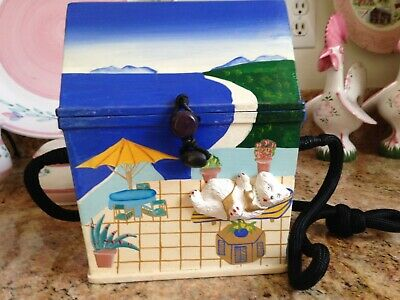 Timmy Woods Beach House with Cat Handbag, Purse Signed