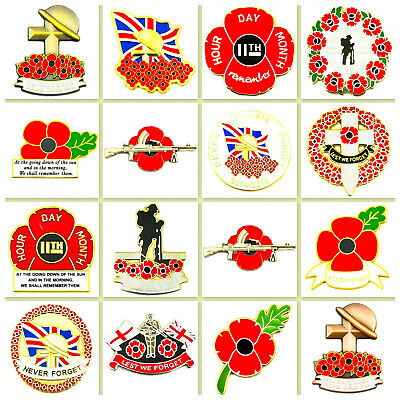 New British Military WW1 Lapel Pin Badge Enamel Red Purple 2019 Poppy Collection