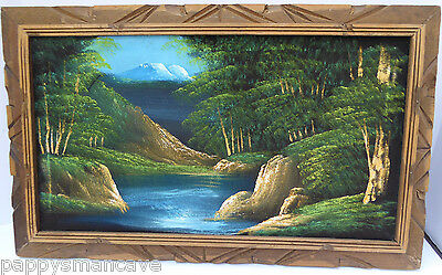 VINTAGE MID-CENTURY framed MOUNTAIN/LAKE SETTING BLACK VELVET  PAINTING