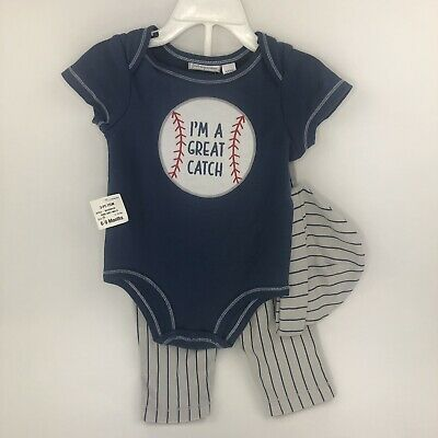 Baby Boy Clothes Size 6-9 Months 3 Piece Set First Impressions Baseball NWT