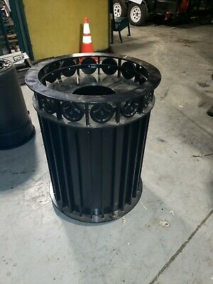Dumor Signature Outdoor Commercial Trash Receptacle Can Steel